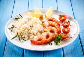 еда, рыбные блюда,  с морепродуктами, черри, помидоры, креветки, рис, лимон, томаты