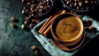 еда, кофе,  кофейные зёрна, корица, зерна, эспрессо