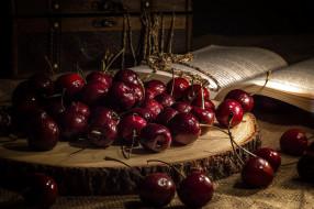 еда, вишня,  черешня, вишни, книга