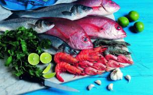 рыба, чеснок, лайм, креветки, петрушка