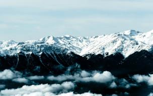 природа, горы, облака, вершины, снег