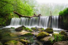 природа, водопады, вода, деревья, водопад, камни
