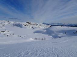 природа, зима, холмы, снег