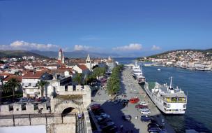 town, порт, залив, aerial, port, marina, здания, coast, аэрофотосъемка, trogir, harbor, dock, croatia, хорватия