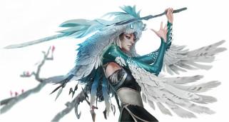 фэнтези, девушки, оружие, профиль, девушка, перья
