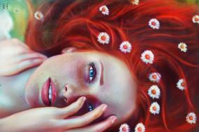 рыжая, глаза, девушка, взгляд, лицо, цветочки, веснушки