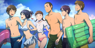 аниме, kimi no na wa, пляж
