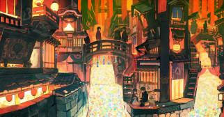 аниме, город,  улицы,  интерьер,  здания