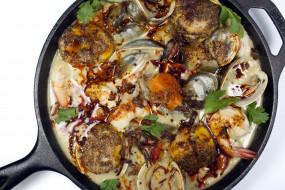 еда, рыбные блюда,  с морепродуктами, индийская, креветки, мидии, кухня