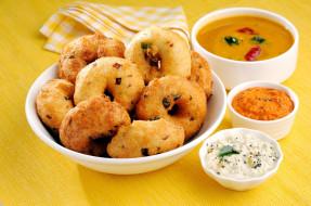 кухня, индийская, пончики, соусы