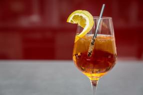 бокал, коктейль, лимон