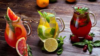еда, напитки,  коктейль, грейпфрут, клубника, лимон