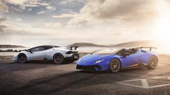 blue, белый, 2019, Spyder, Performante, Lamborghini, Huracan