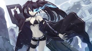 аниме, black rock shooter, взгляд, оружие, плащ, девушка