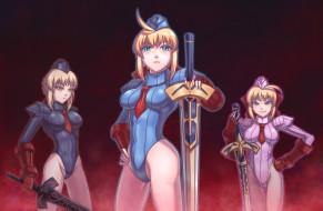 девушки, фон, униформа, меч, взгляд