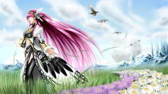 аниме, vocaloid, ромашки, цветы, трава, птицы, волосы, девушка