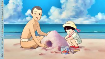 календари, аниме, водоем, песок, девочка, мальчик, взгляд