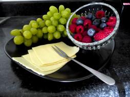 еда, фрукты,  ягоды, черника, сыр, малина, виноград