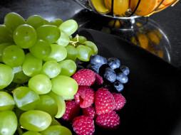 еда, фрукты,  ягоды, виноград, черника, малина