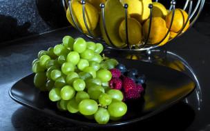 еда, фрукты,  ягоды, виноград, лимоны, малина, черника