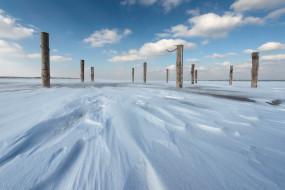 природа, зима, столбы, снег, лёд
