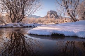природа, реки, озера, март, деревья, вода, снег, весна