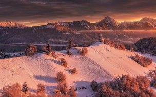 церковь, лес, зима, снег, горы, свет