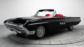 ford thunderbird sport roadster 1963, форд, черный, кабриолет
