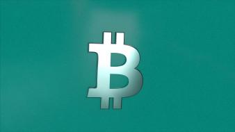 Биткойн, валюта, зелёный фон