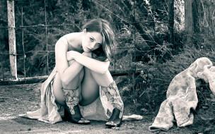 девушки, -unsort , Черно-белые обои, красивая, девушка