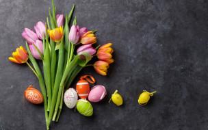 праздничные, пасха, tulips, цветы, eggs, тюльпаны, spring, яйца, крашеные, pink, easter, decoration, flowers, happy, розовые, colorful