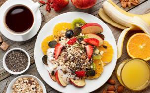 еда, мюсли,  хлопья, фрукты, завтрак, ягоды, орехи, овсяные, хлопья, кофе