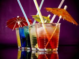 коктейль, бокалы, зонтики