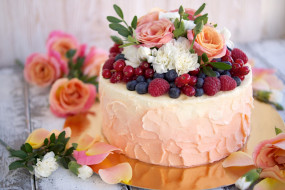 розы, малина, лакомство, торт, смородина