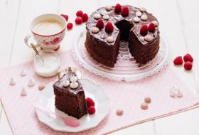лакомство, торт, малина, чай