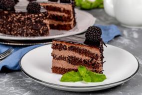 лакомство, ежевика, мята, торт