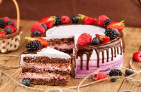 малина, ежевика, торт, лакомство