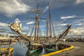 корабли, парусники, паруса, мачты