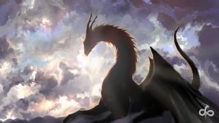 фэнтази, дракон, арт, облака, небо