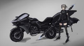 аниме, оружие,  техника,  технологии, девушка, мотоцикл