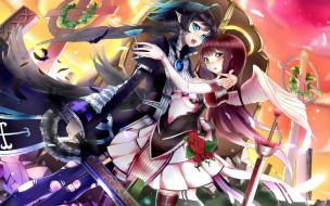 аниме, ангелы,  демоны, девочки, крылья, кресты, мечи