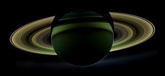 космос, сатурн, с, темной, стороны, вид