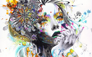 орнамент, девушка, лицо, цветы