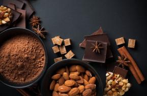 шоколад, какао, орехи, анис, корица