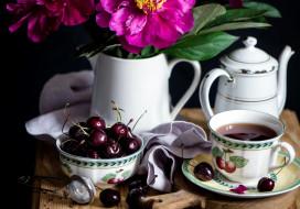 чай, черешня, пионы
