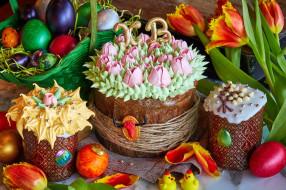 Пасха, куличи, крем, декор, тюльпаны, крашенки