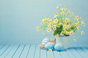 яйца, ромашки, Пасха
