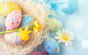 Easter, нарциссы, праздник, декор, цветы, ромашка, гнездо, ленты, Пасха, яйца