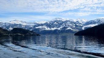 озеро, горы, снег