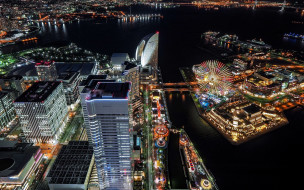 городской пейзаж, japan, tokyo, cityscape, night, токио, город, city lights, palette town, ночь, ferris wheel, огни